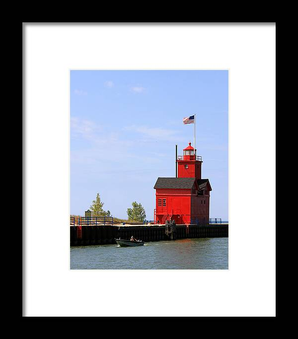Light Framed Print featuring the photograph Holland Harbor Lighthouse by George Jones