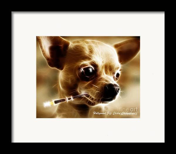 Animal Framed Print featuring the photograph Hollywood Fifi Chika Chihuahua - Electric Art - With Text by Wingsdomain Art and Photography