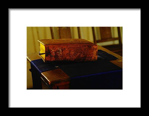 Books Framed Print featuring the photograph Holy Bible In Lincoln City by Jeff Swan
