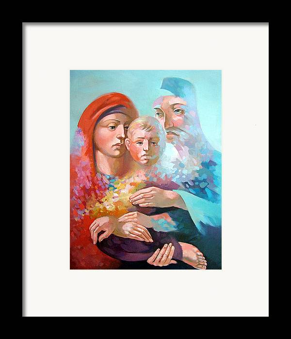 Saint Mary Framed Print featuring the painting Holy Family by Filip Mihail