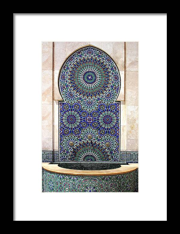 Holy Water Fountain Framed Print featuring the photograph Holy Water Fountain Hassan II Mosque Sour Jdid Casablanca Morocco by PIXELS XPOSED Ralph A Ledergerber Photography