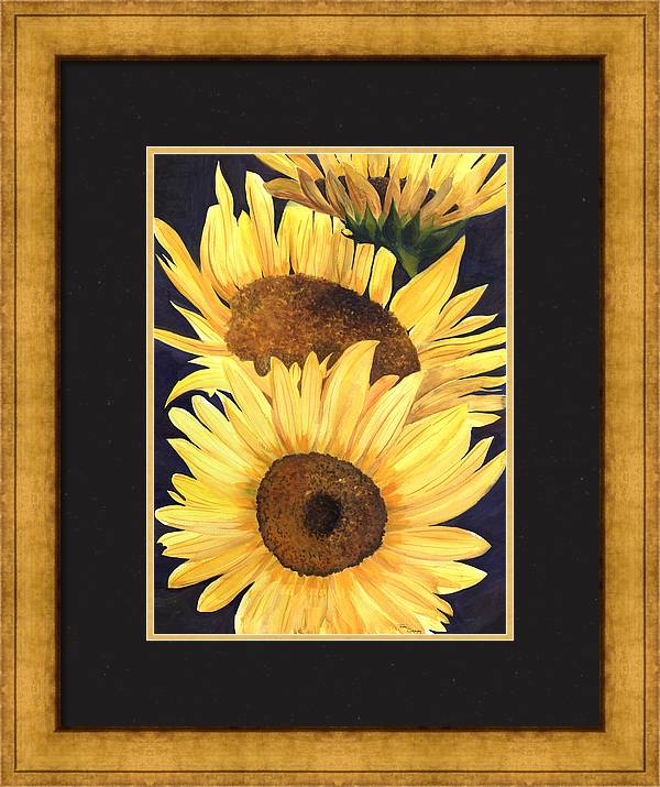Sunflower Painting Framed Print featuring the painting Homage To The Sun by Terri Meyer