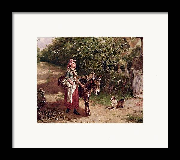 Spade Framed Print featuring the painting Home From Market by Edgar Bundy