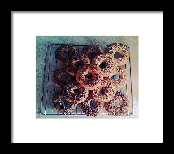 Flax Seed Framed Print featuring the photograph Homemade Bagels by Lasse Kristensen