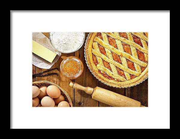 Breakfast Framed Print featuring the photograph Homemade Italian Crostata With by Fcafotodigital