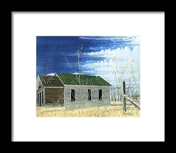 Homestead Framed Print featuring the painting Homestead Burleigh County North Dakota by David Wolfer