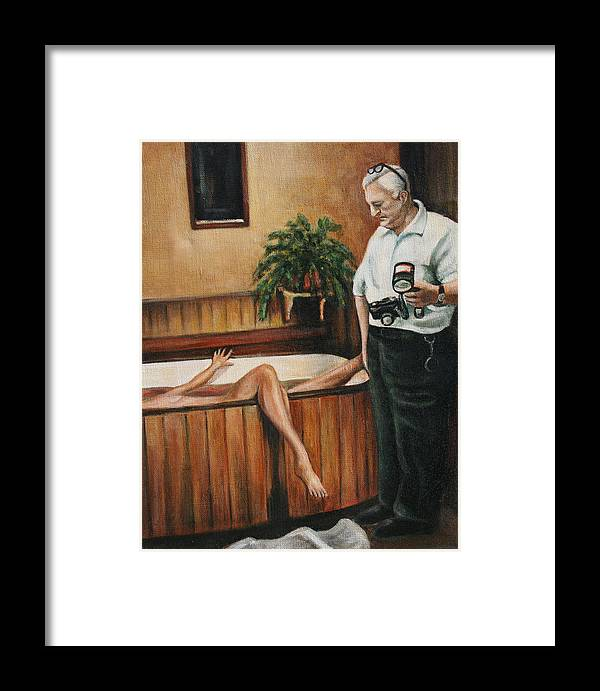 Homicide Photographer Framed Print featuring the painting Homicide Photographer by Melinda Saminski