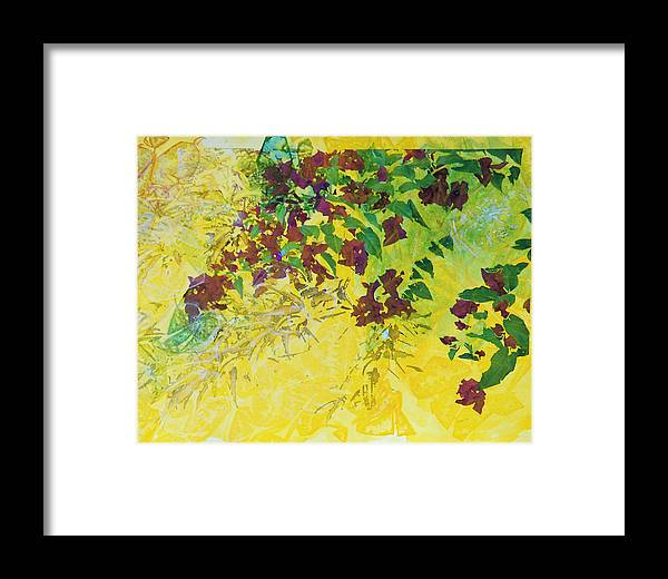 Yellow Framed Print featuring the mixed media Honeymoon Flowers by Arlissa Vaughn