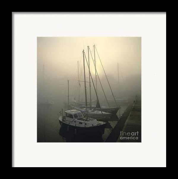 The Framed Print featuring the photograph Honfleur Harbour In Fog. Calvados. Normandy by Bernard Jaubert