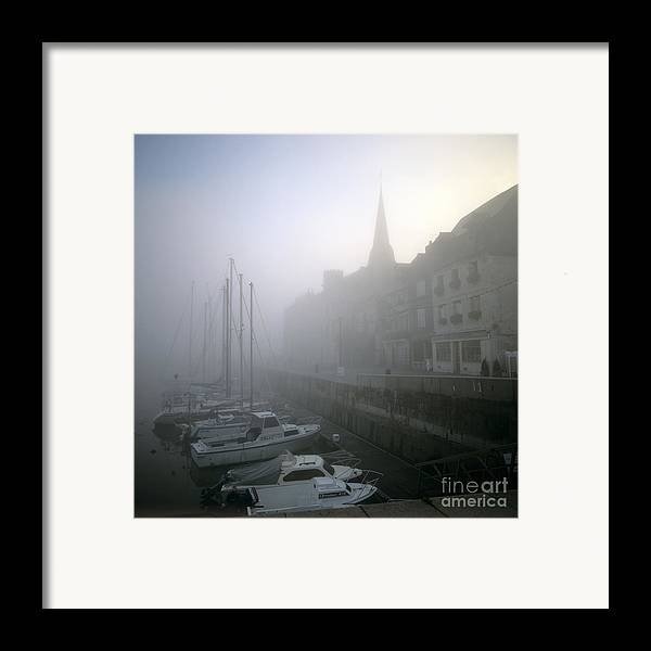 Ambiance Ambient Atmosphere Atmospheric Boat Boats Calvados Day Daylight Daytime During Europe European Exterior Exteriors Filled Fog Foggy France French Full Harbor Harbour Harbour Haze Hazy Honfleur In Mist Mists Misty Mood Mood-filled Moods Nobody Normandy Of Outdoor Photo Photos Port Ports Shot Shots The Framed Print featuring the photograph Honfleur Harbour In Fog. Calvados. Normandy. France. Europe by Bernard Jaubert