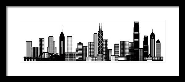 Hong Kong City Skyline Black And White Illustration Framed Print by ...