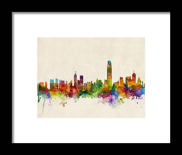 Watercolor Skyline Of Hong Kong Framed Print featuring the digital art Hong Kong Skyline by Michael Tompsett