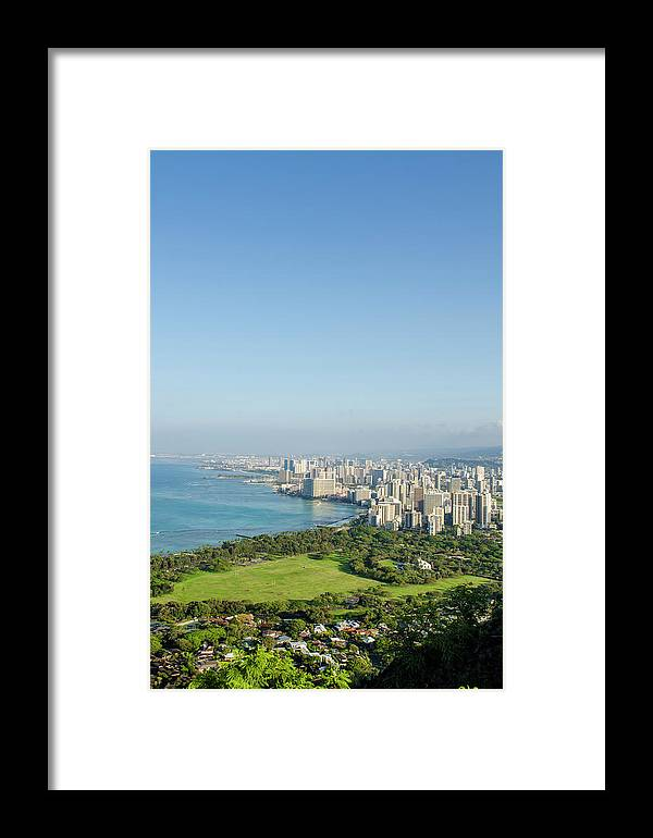 Aerial Framed Print featuring the photograph Honolulu From Atop Diamond Head State by Michael Defreitas