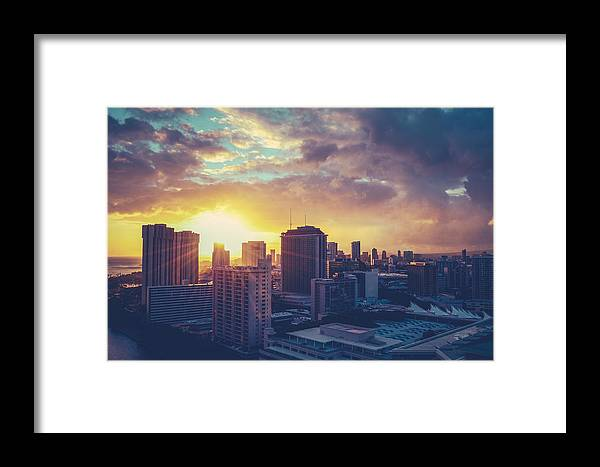 Clouds Framed Print featuring the photograph Honolulu Hawaii Sunset by Mr Doomits