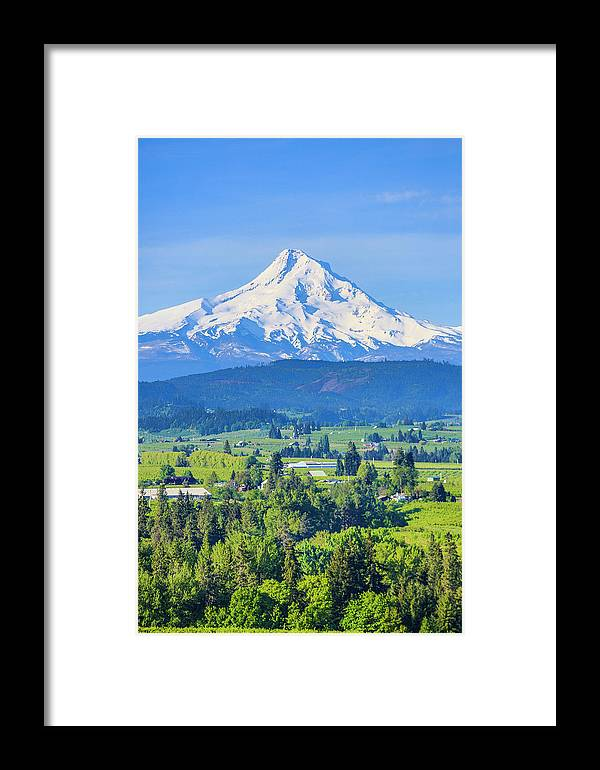 Blue Sky Framed Print featuring the photograph Hood River, Oregon by Jolly Sienda