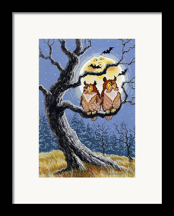 Halloween Framed Print featuring the painting Hooty Whos There by Richard De Wolfe