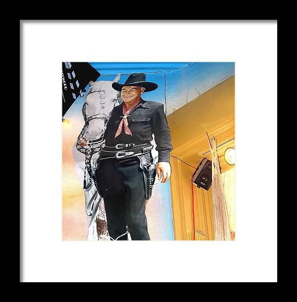 Hopalong Cassidy William Boyd Cardboard Cut-out John Wayne Helldorado Days Tombstone Arizona Framed Print featuring the photograph Hopalong Cassidy Cardboard Cut-out Tombstone Arizona 2004 by David Lee Guss