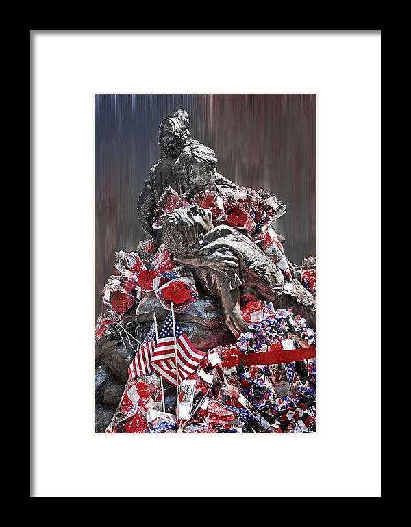 Vietnam Women's Memorial Framed Print featuring the photograph Hope Faith And Charity by Tom Gari Gallery-Three-Photography