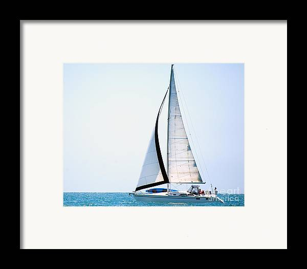 Sailing Framed Print featuring the photograph Hope Floats Sailboat From The Book My Ocean by Artist and Photographer Laura Wrede