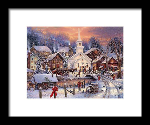 Snow Village Framed Print featuring the painting Hope Runs Deep by Chuck Pinson