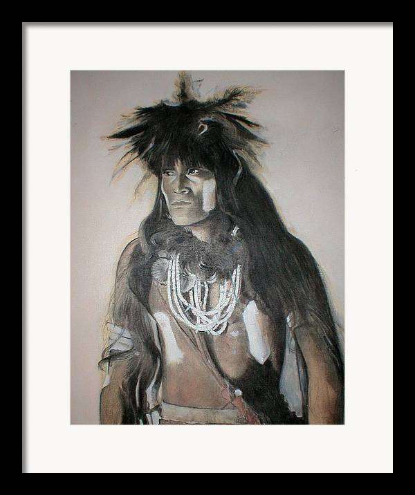 Hopi Framed Print featuring the painting Hopi Snake Priest by Terri Ana Stokes