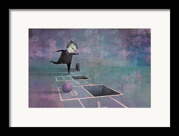 Dennis Wunsch Framed Print featuring the digital art Hopscotch2 by Dennis Wunsch