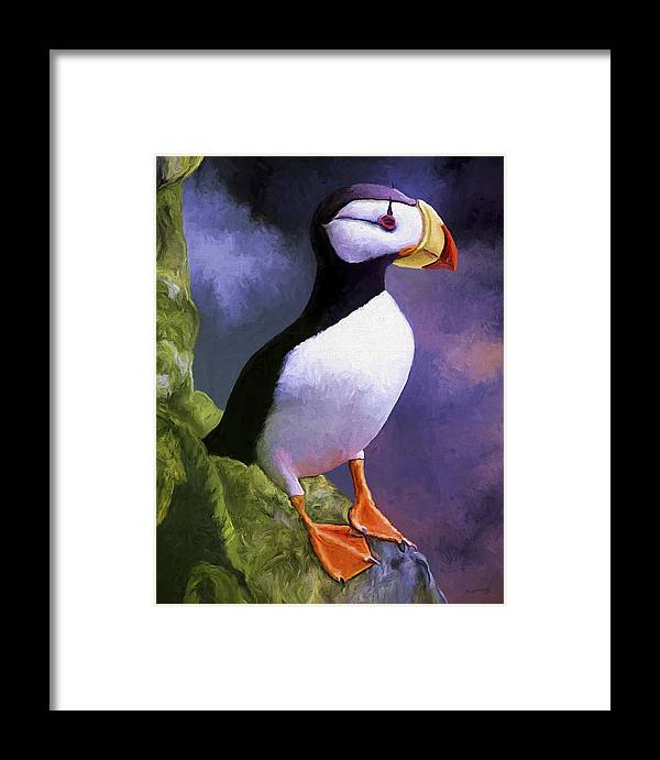 Animal Framed Print featuring the painting Horned Puffin by David Wagner