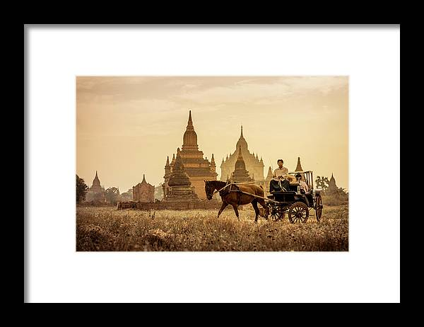 Horse Framed Print featuring the photograph Horse And Carriage Turning By Temples by Merten Snijders
