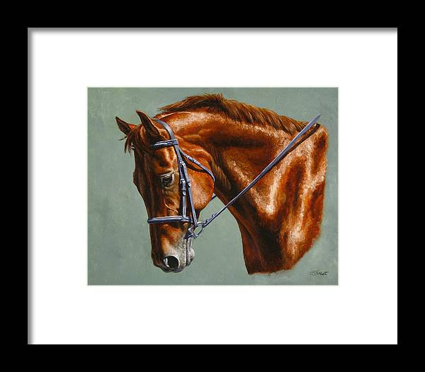 Horse Framed Print featuring the painting Horse Painting - Focus by Crista Forest