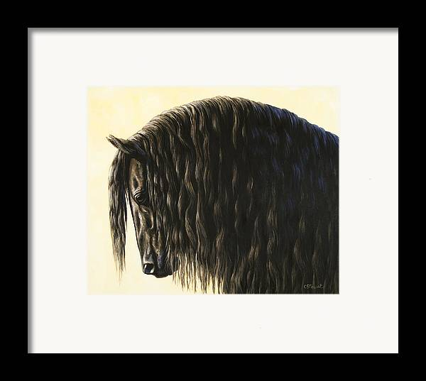 Horse Framed Print featuring the painting Horse Painting - Friesland Nobility by Crista Forest