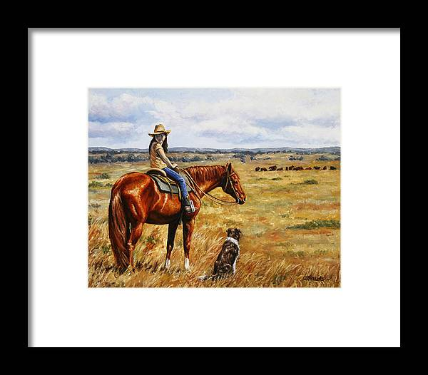 Western Framed Print featuring the painting Horse Painting - Waiting For Dad by Crista Forest