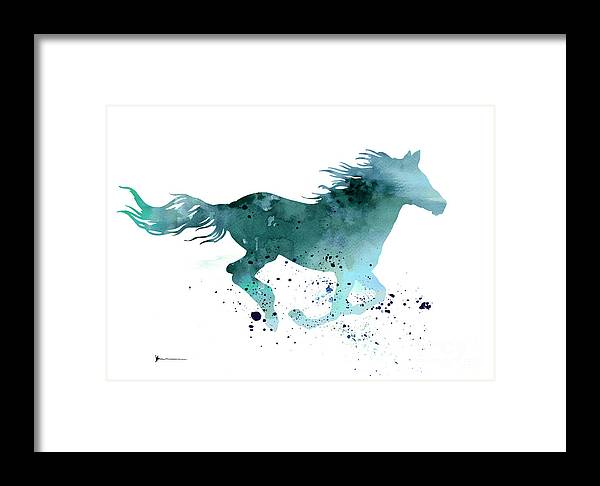 Horse Silhouette Watercolor Art Print Painting Framed Print by ...