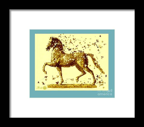 Horse Framed Print featuring the painting Horse Trotting by Jerry Kool