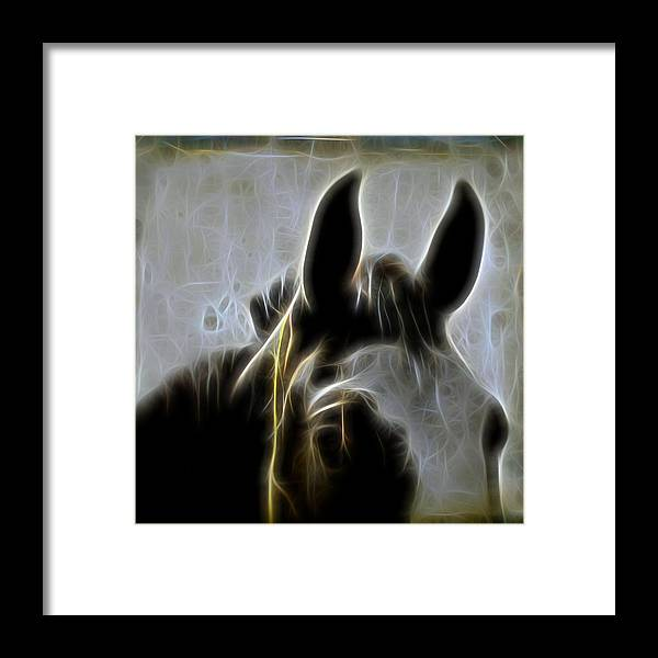 Close Up Surreal Horse Framed Print featuring the digital art Horse Whispers by Gothicrow Images