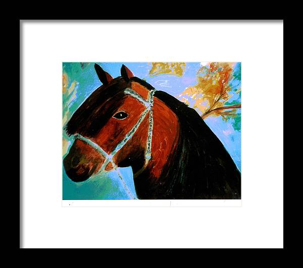 Horse Framed Print featuring the painting Horse With Long Forelocks by Anne-Elizabeth Whiteway
