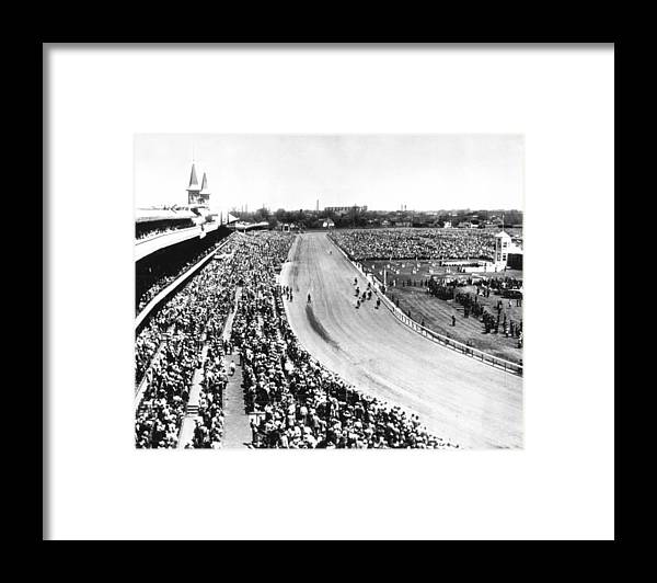 Retro Framed Print featuring the photograph Horses In Action At Vintage Churchill Downs Race by Retro Images Archive