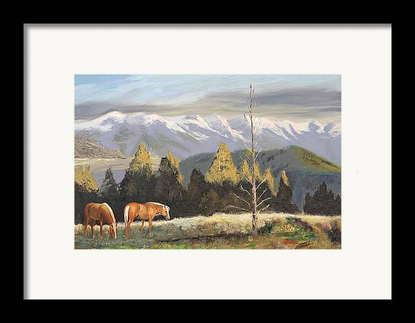 Landscape Framed Print featuring the painting Horses Of The Tetons by Tommy Thompson