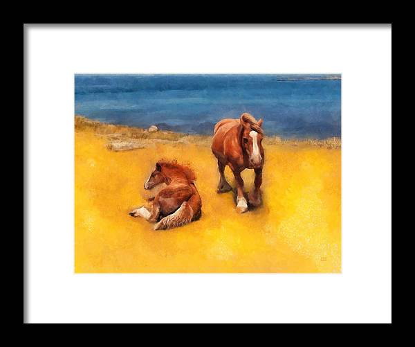 Horses Framed Print featuring the painting Horses On The Coast Of Brittany by Menega Sabidussi