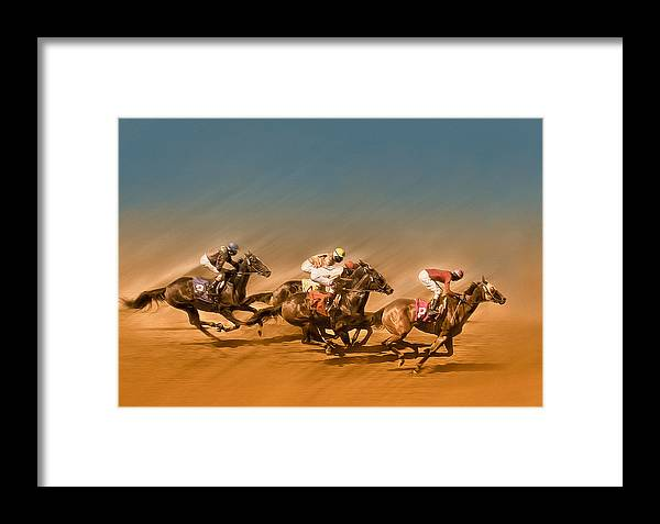 Horses Framed Print featuring the photograph Horses Racing To The Finish Line by Eduardo Tavares