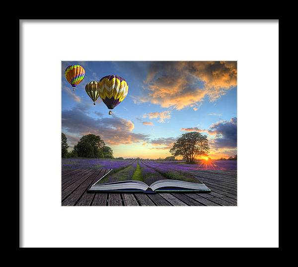 Magic Framed Print featuring the photograph Hot Air Balloons Lavender Landscape Magic Book Pages by Matthew Gibson