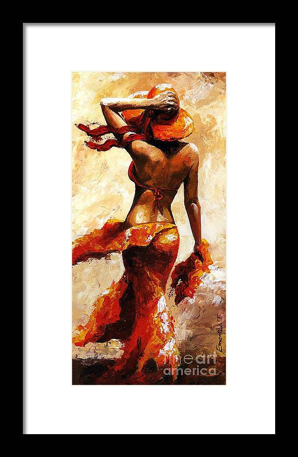 Woman Framed Print featuring the painting Hot Breeze by Emerico Imre Toth