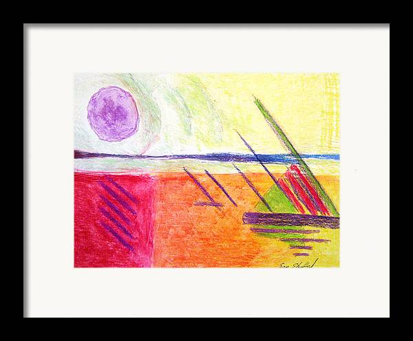 Hot Day Framed Print featuring the drawing Hot Day At The Shore by Sam Shacked