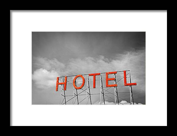 Sign Framed Print featuring the photograph Hotel Sign by Todd Hartzo