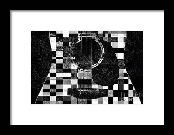 Guitar Framed Print featuring the photograph Hour Glass Guitar Random Bw Squares by Andee Design