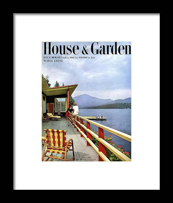 House & Garden Framed Print featuring the photograph House & Garden Cover Of Women Sitting On The Deck by Robert M. Damora