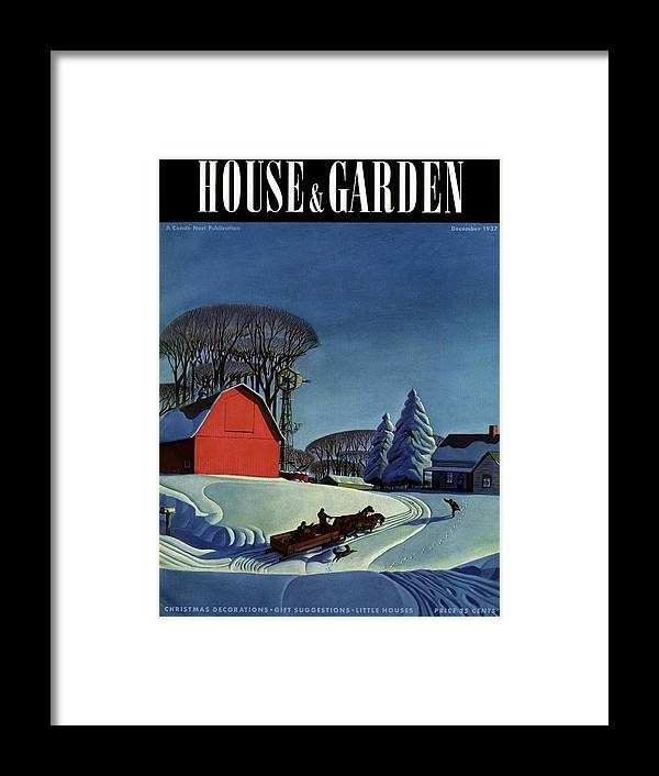 House And Garden Framed Print featuring the photograph House And Garden Christmas Decoration Cover by Dale Nichols