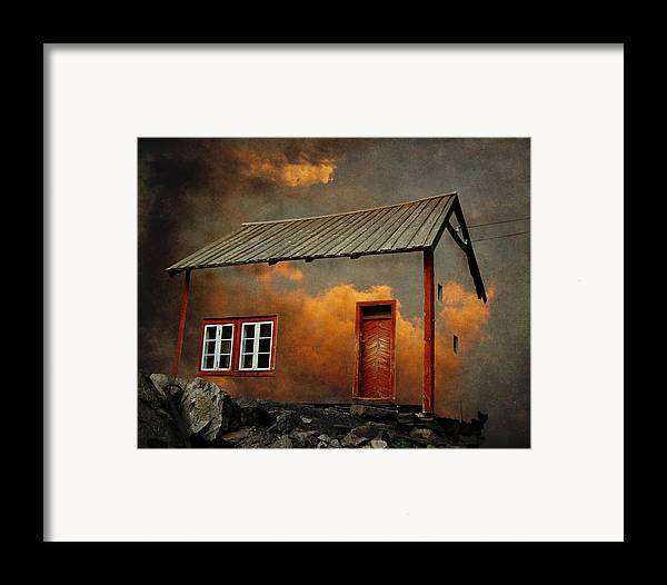 Surrealism Framed Print featuring the photograph House In The Clouds by Sonya Kanelstrand