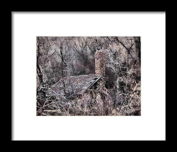 Watercolor Framed Print featuring the photograph House In The Woods by Darla Hallmark