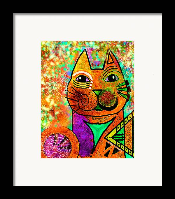 Moon Stumpp Framed Print featuring the painting House Of Cats Series - Blinks by Moon Stumpp