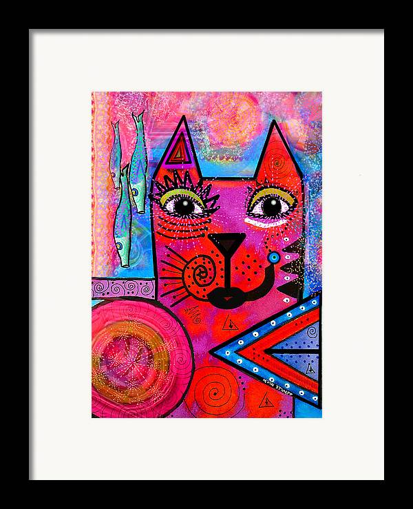 Moon Stumpp Framed Print featuring the painting House Of Cats Series - Tally by Moon Stumpp